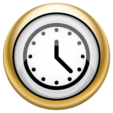 clock face: Shiny glossy icon with black design on white and gold background