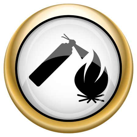 firealarm: Shiny glossy icon with black design on white and gold background