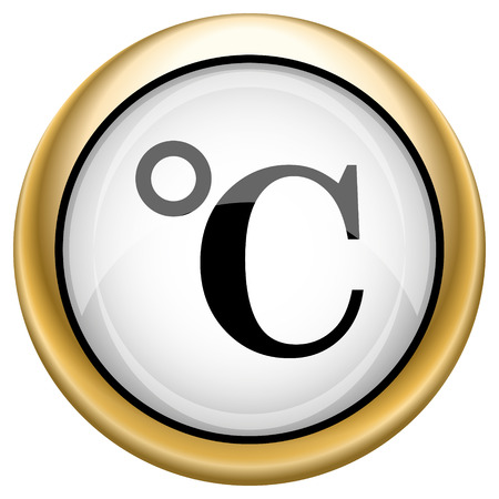 celcius: Shiny glossy icon with black design on white and gold background