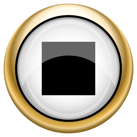 Shiny glossy icon with black design on white and gold background photo