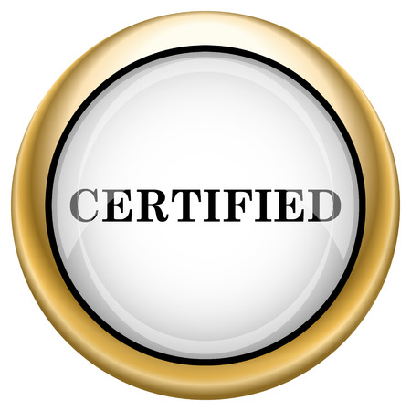 accredit: Shiny glossy icon with black design on white and gold background