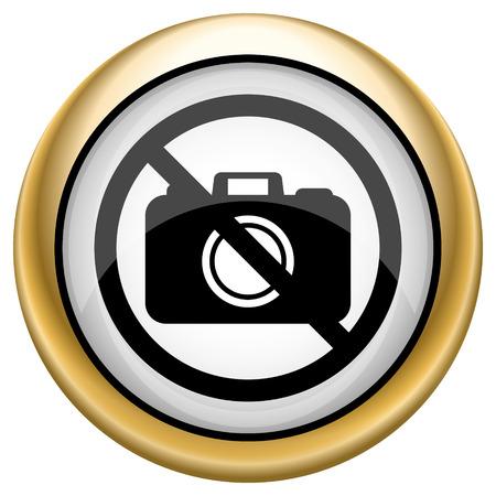 Shiny glossy icon with black design on white and gold background Stock Photo - 22926314