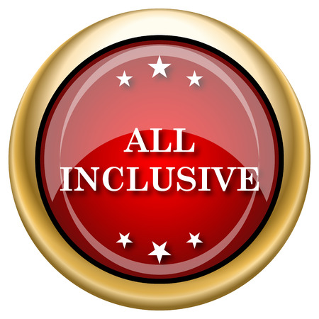 inclusive: Shiny glossy icon with white design on red and gold background