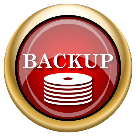 data archiving: Shiny glossy icon with white design on red and gold background