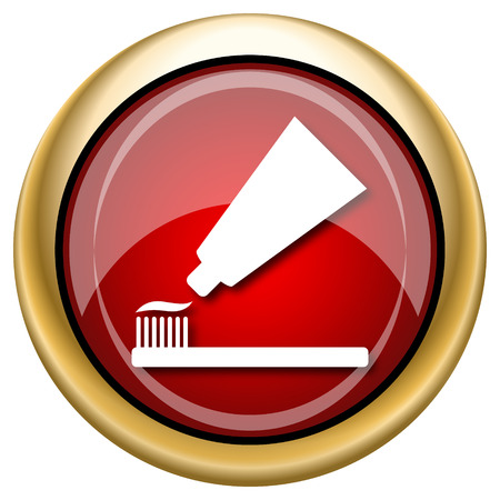 fluoride toothpaste: Shiny glossy icon with white design on red and gold background