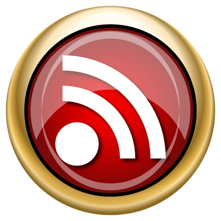 Shiny glossy icon with white design on red and gold background Stock Photo - 23044411