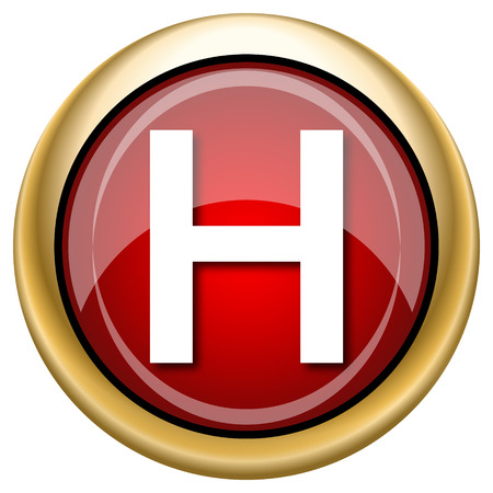 hobble: Shiny glossy icon with white design on red and gold background