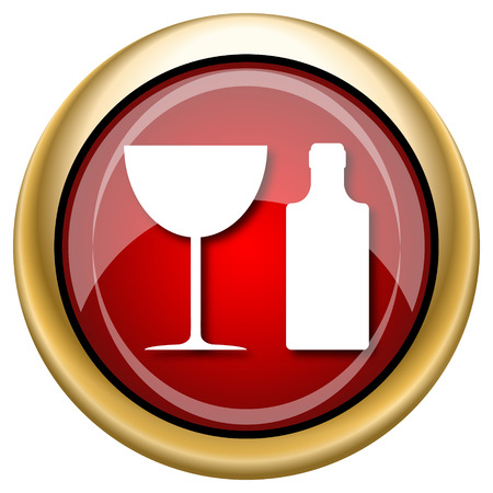 vermouth: Shiny glossy icon with white design on red and gold background
