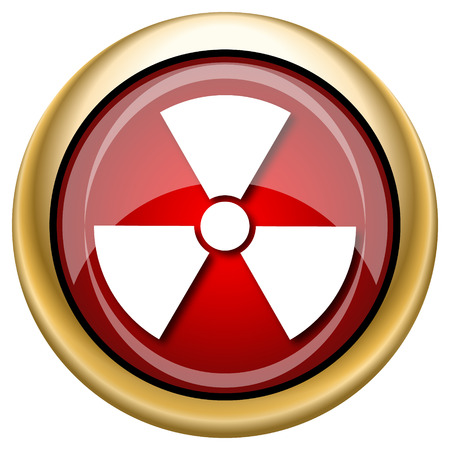 nuke: Shiny glossy icon with white design on red and gold background