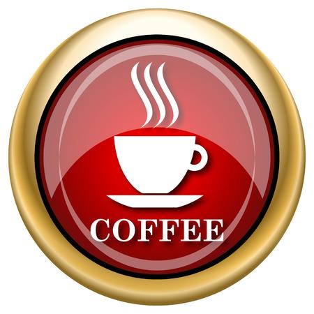 tasse de caf�: Ic�ne sur papier glac� brillant avec un design blanc sur fond rouge et or Banque d'images