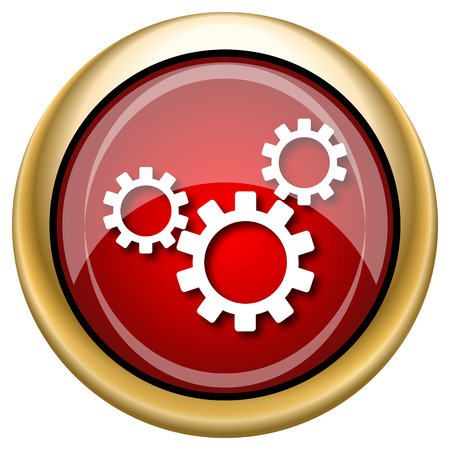 Shiny glossy icon with white design on red and gold background photo