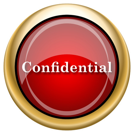 confidentiality: Shiny glossy icon with white design on red and gold background