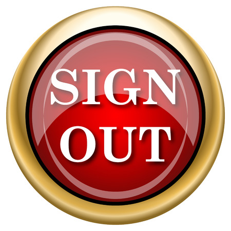 log off: Shiny glossy icon with white design on red and gold background