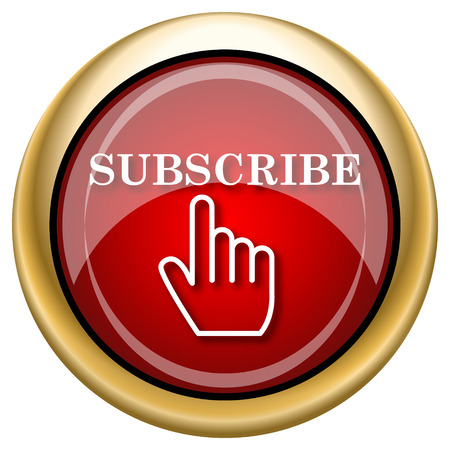 subscribing: Shiny glossy icon with white design on red and gold background