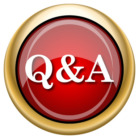 qa: Shiny glossy icon with white design on red and gold background