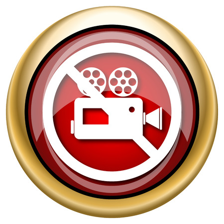 Shiny glossy icon with white design on red and gold background Stock Photo - 23044971
