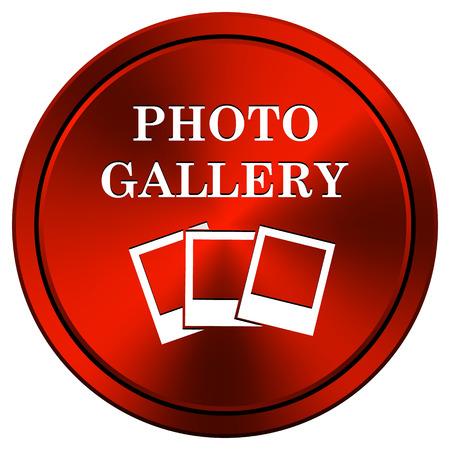 Metallic icon with white design on red  background Stock Photo