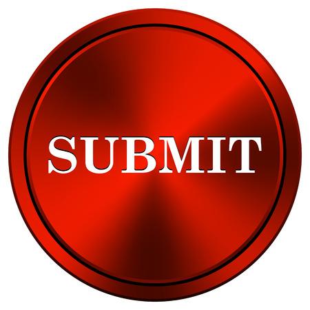 submitting: Metallic icon with white design on red  background Stock Photo