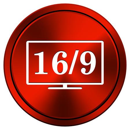 16 9 display: Metallic icon with white design on red  background Stock Photo