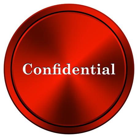 confidentiality: Metallic icon with white design on red  background Stock Photo