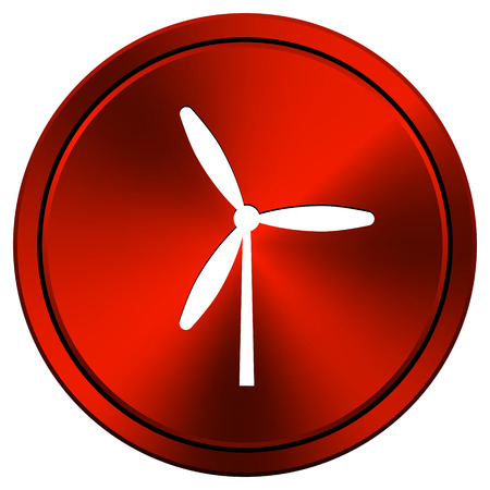 windfarm: Metallic icon with white design on red  background Stock Photo