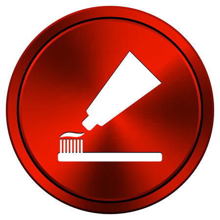toothbrushing: Metallic icon with white design on red  background Stock Photo