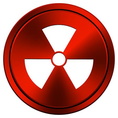 Metallic icon with white design on red  background Stock Photo - 23267882