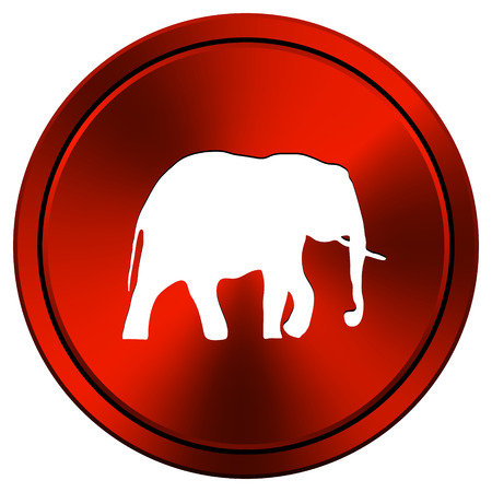 endanger: Metallic icon with white design on red  background Stock Photo