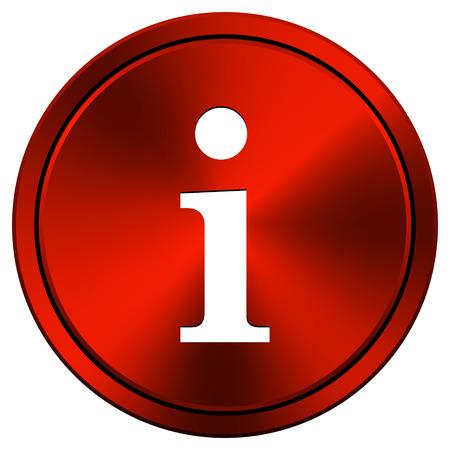 Metallic icon with white design on red  background photo
