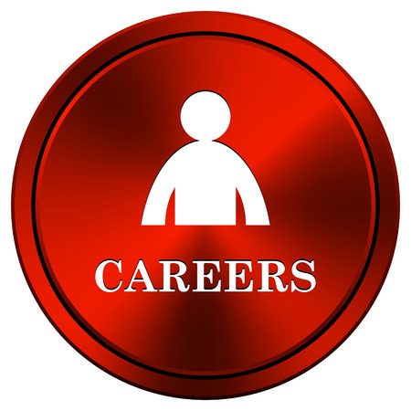 career entry: Metallic icon with white design on red  background Stock Photo