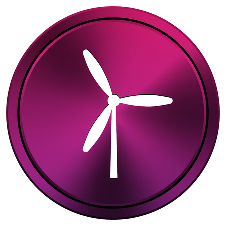 windfarm: Metallic icon with white design on mauve  background