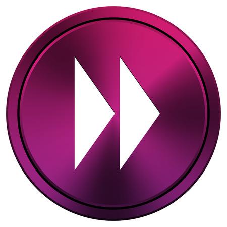 rewind icon: Metallic icon with white design on mauve  background