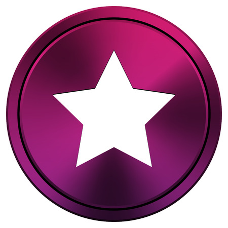 mauve: Metallic icon with white design on mauve  background