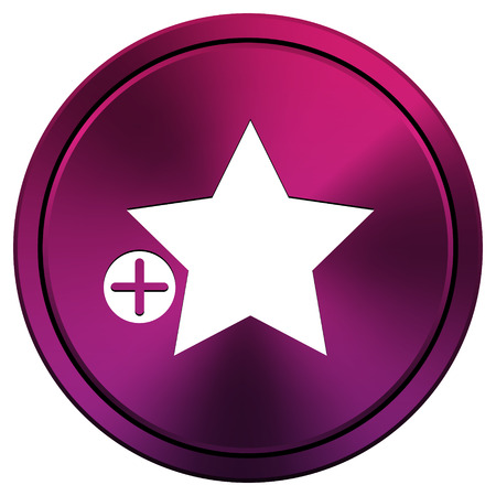Metallic icon with white design on mauve  background