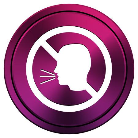aloud: Metallic icon with white design on mauve  background