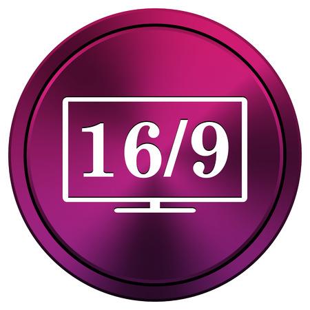 16 9 display: Metallic icon with white design on mauve  background