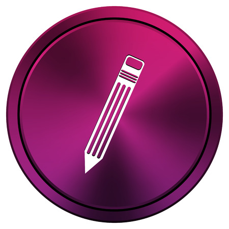 Metallic icon with white design on mauve  background photo