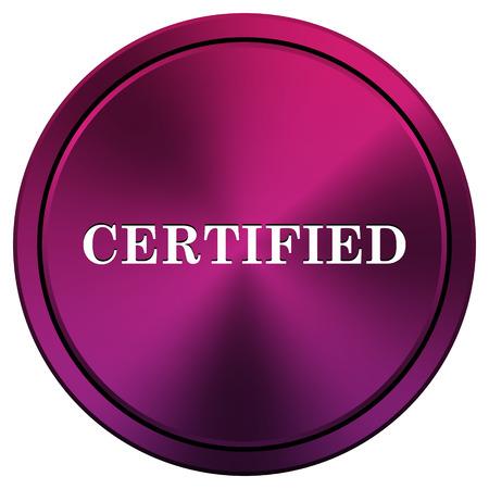 ratification: Metallic icon with white design on mauve  background