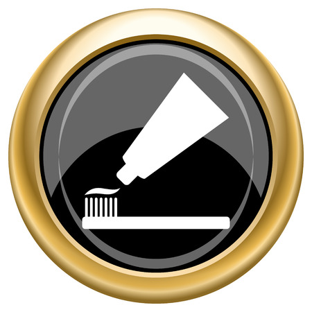 fluoride: Shiny glossy icon with white design on black and gold background