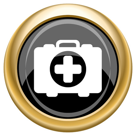 first aid kit key: Shiny glossy icon with white design on black and gold background