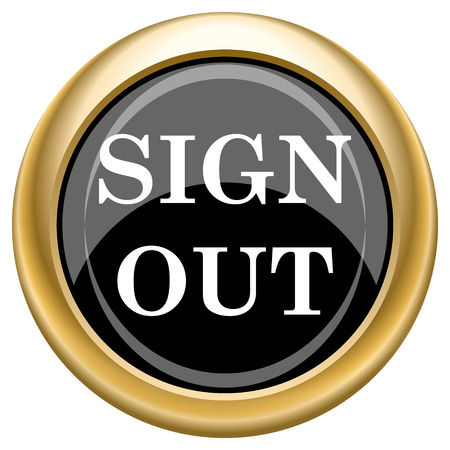 log off: Shiny glossy icon with white design on black and gold background