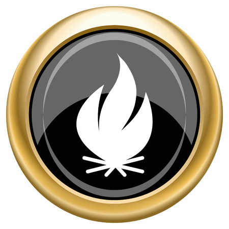 Shiny glossy icon with white design on black and gold background photo