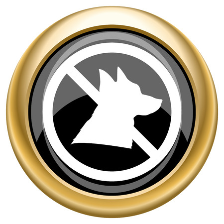 dog allowed: Shiny glossy icon with white design on black and gold background
