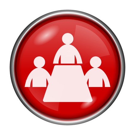 Red round glossy icon with white design on red background photo