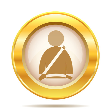 Round glossy icon with brown design on gold background photo