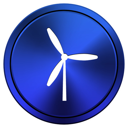 windfarm: Metallic icon with white design on blue background