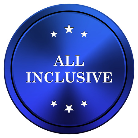 inclusive: Metallic icon with white design on blue background