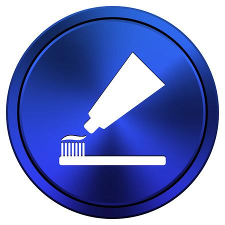 fluoride toothpaste: Metallic icon with white design on blue background