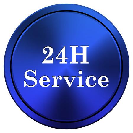 twenty four hours: Metallic icon with white design on blue background