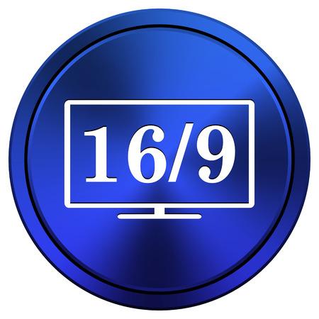 16 9: Metallic icon with white design on blue background